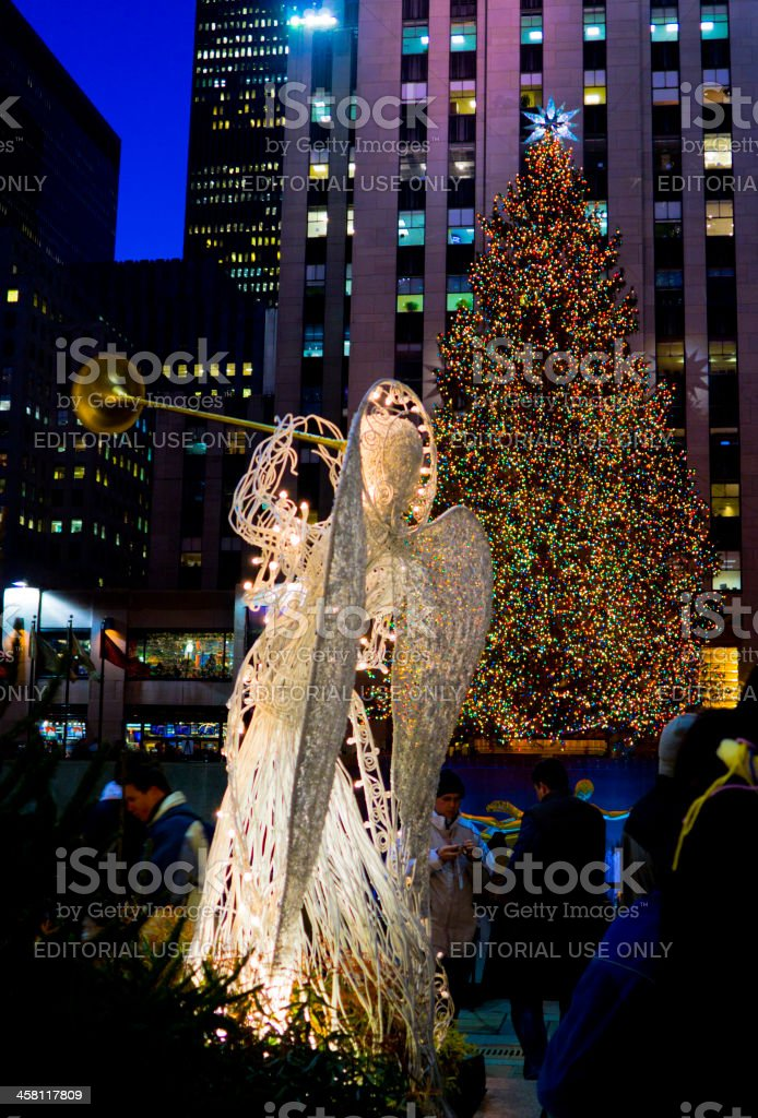 Rockefeller Center Christmas Tree and Angel Manhattan stock photo