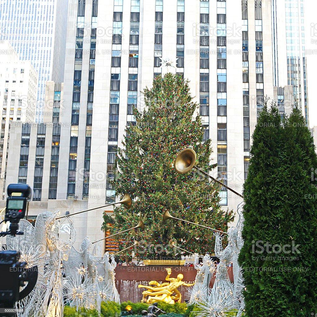 Rockefeller Center Christmas Tree Angels stock photo