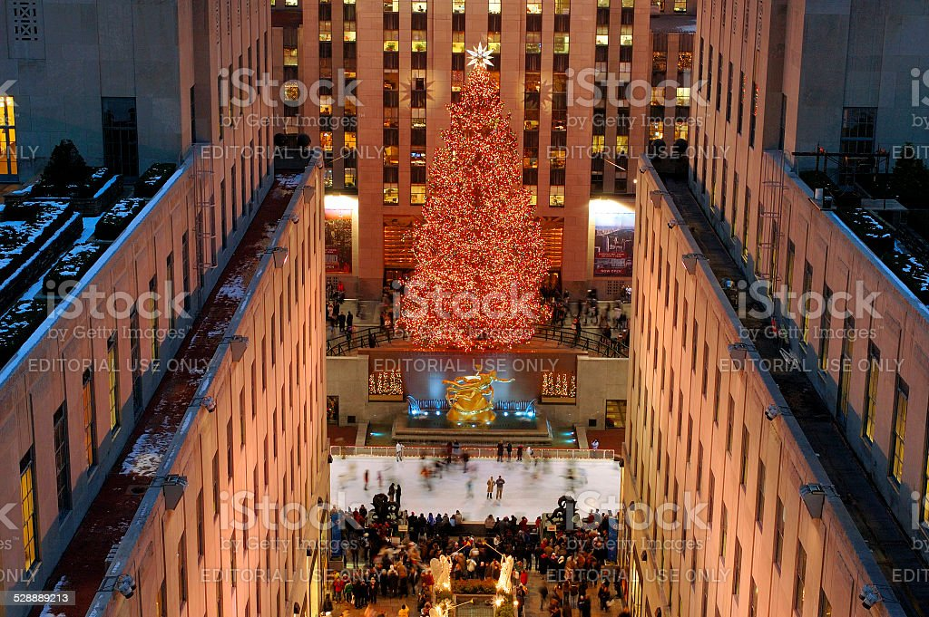 Rockefeller Center Christmas tree with ice skate rink, New York stock photo