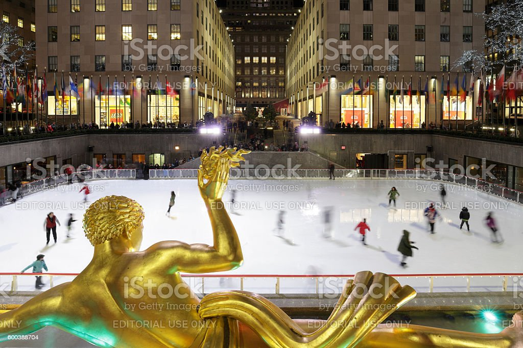 Rockefeller Center Ice Rink - New York stock photo