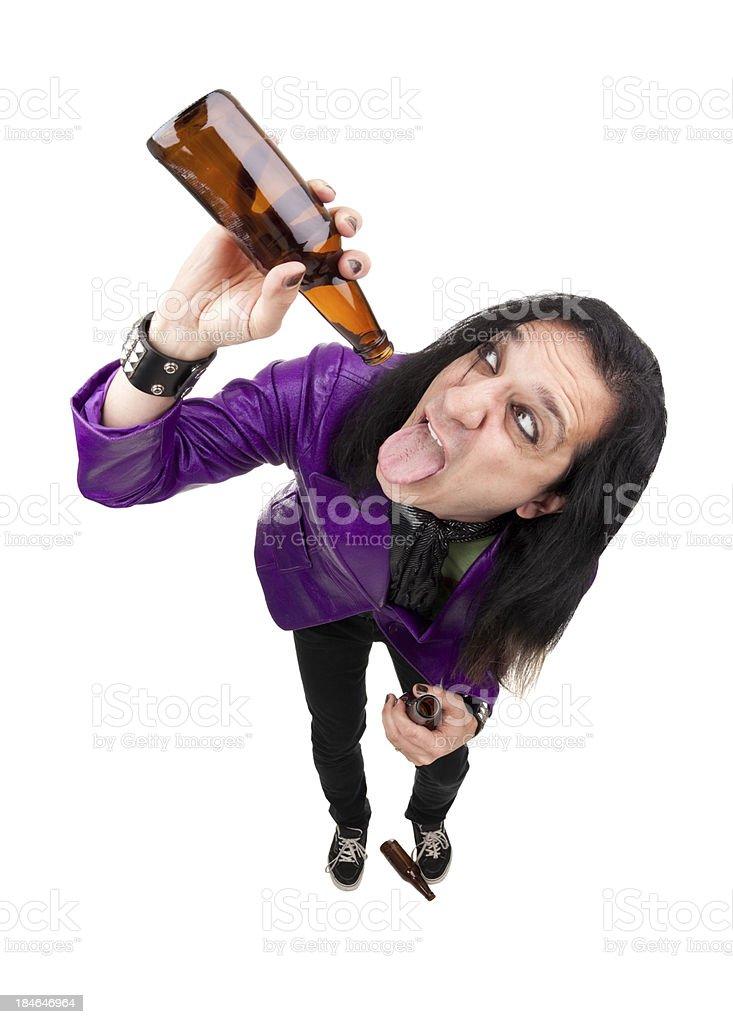 Rocker Guy Chugging Beer royalty-free stock photo