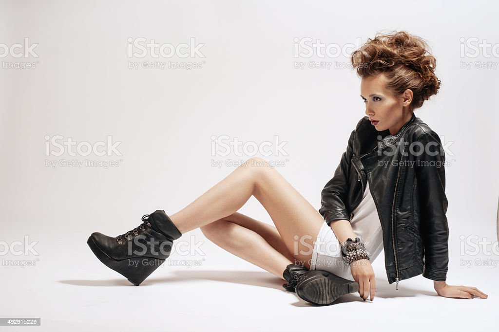 Rocker or Punk Woman Makeup, Hairdo and Accessories stock photo
