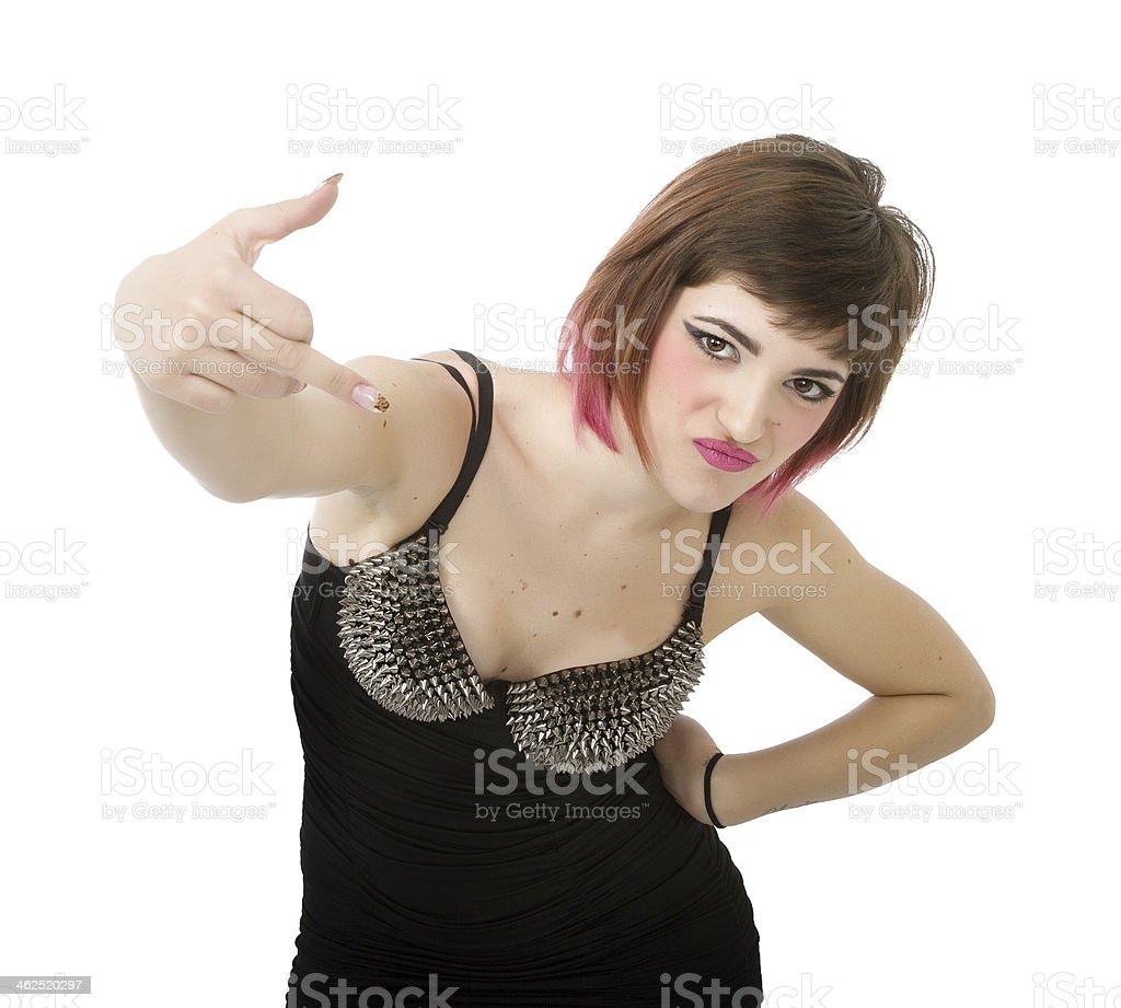 rocker rude gesture in white background stock photo