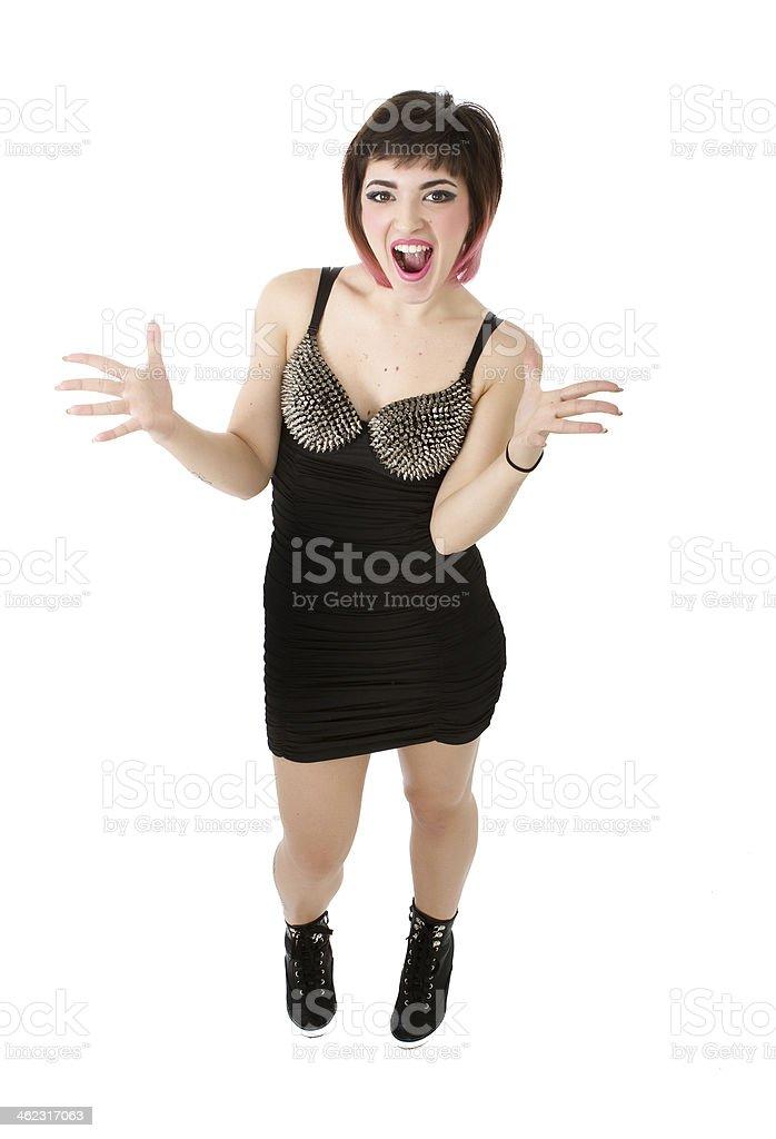rocker screaming and singing stock photo