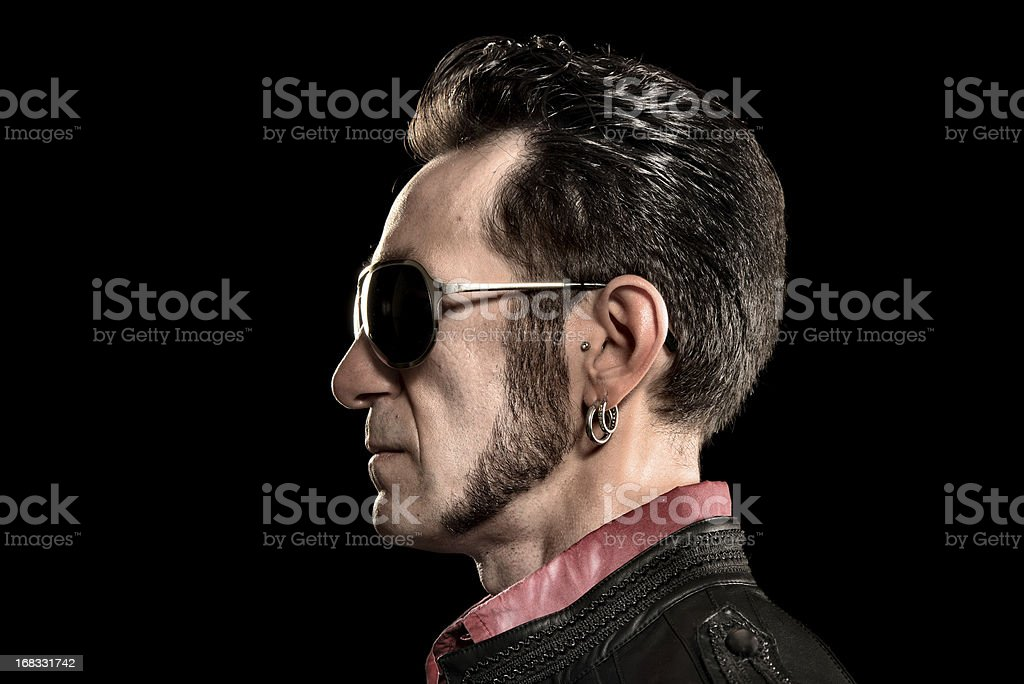 Rocker/Biker studio portraits stock photo