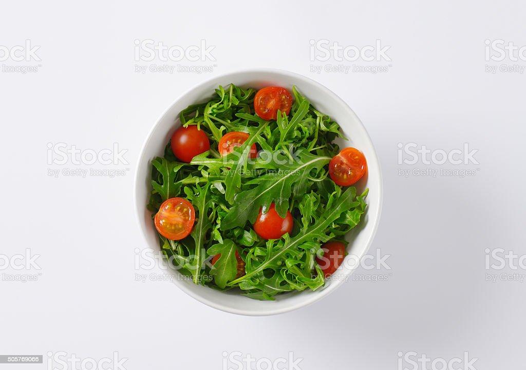 rocket and tomato salad stock photo