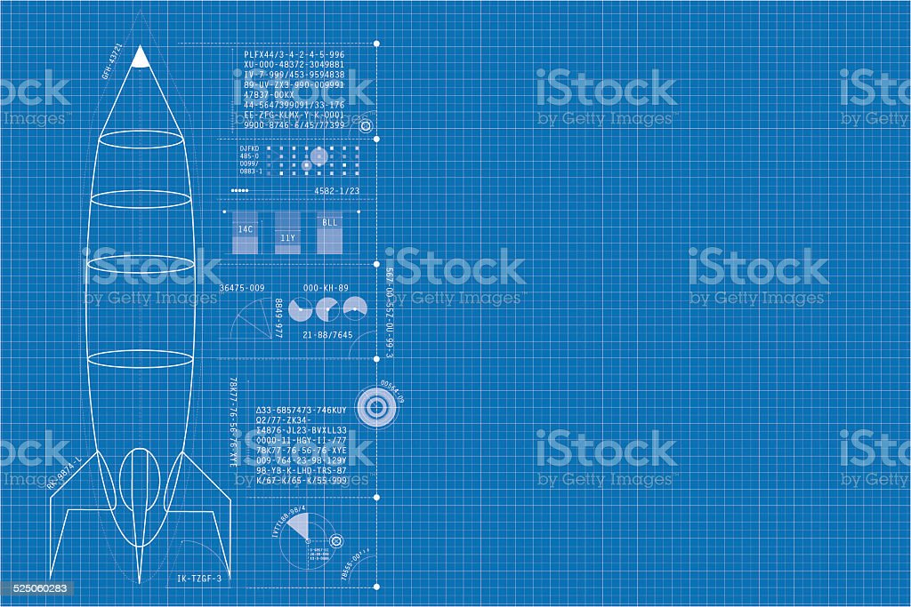 Rocket blueprint stock photo