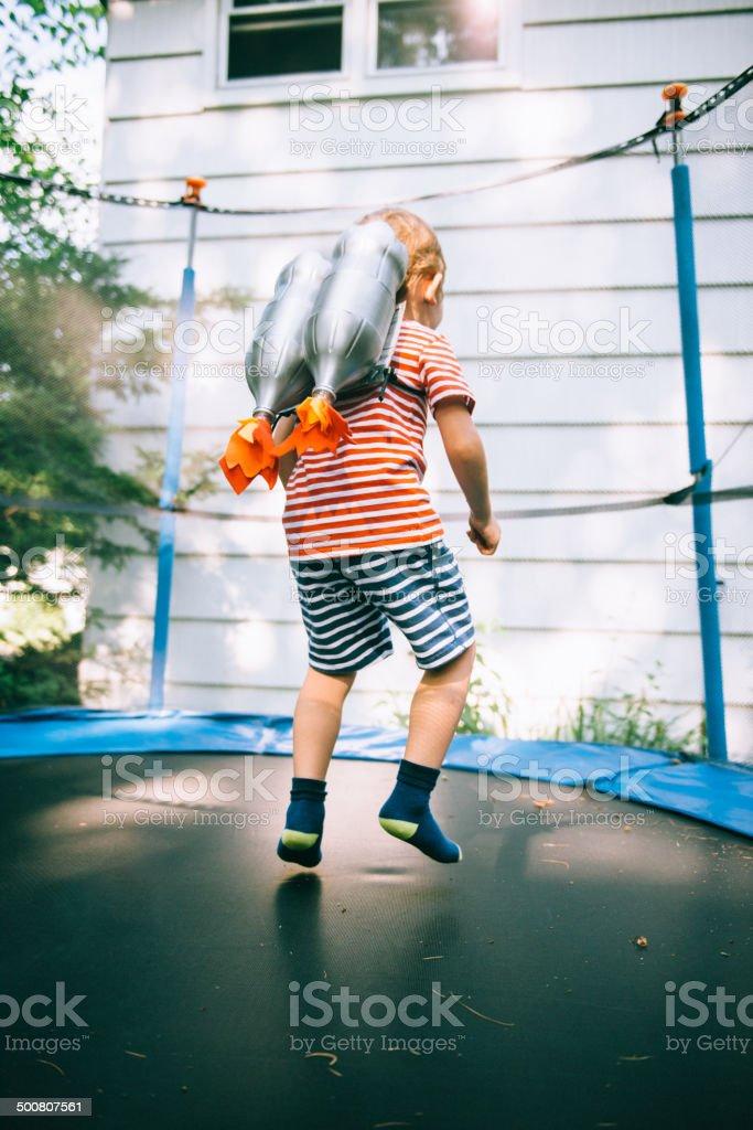 Rocket Boy Taking Off stock photo