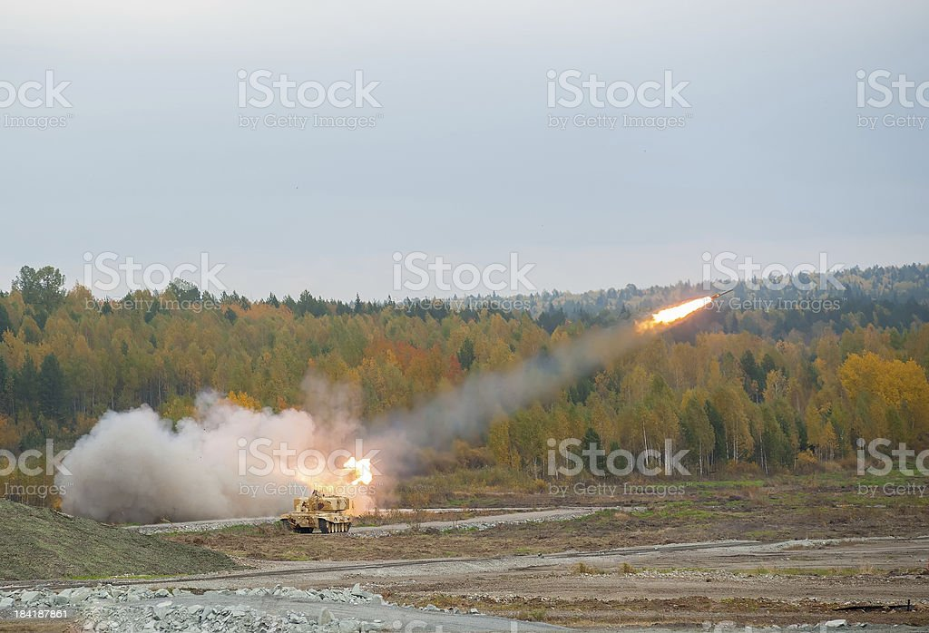 Rocket launch by TOS-1A system stock photo