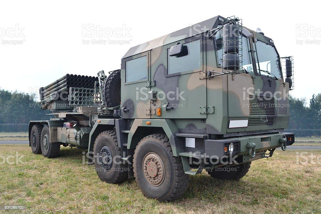 Rocket launcher truck stock photo