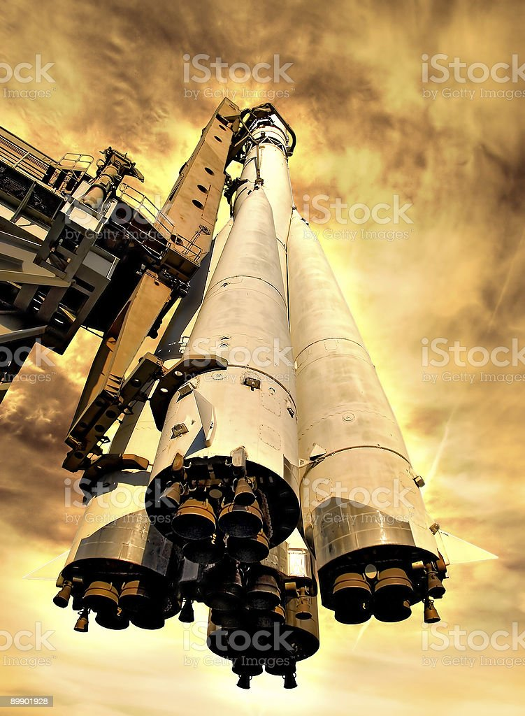 Rocket on hot planet royalty-free stock photo