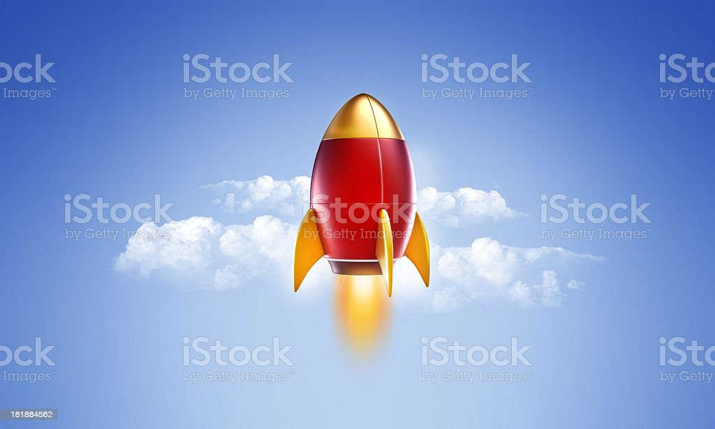 rocket or spaceship Flying in the Sky royalty-free stock photo
