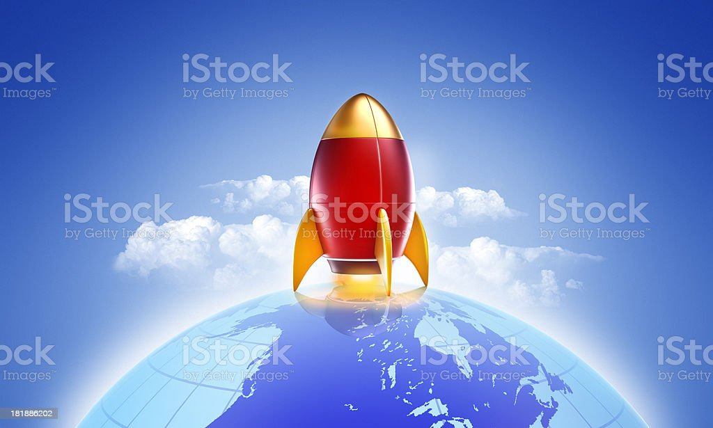 rocket or spaceship taking off from planet royalty-free stock photo