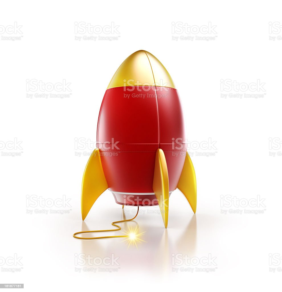 rocket or spaceship with an ignition fuse light up stock photo