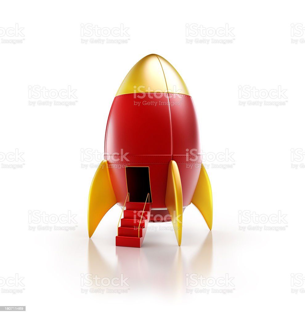 rocket or spaceship with open gate door stair case stock photo