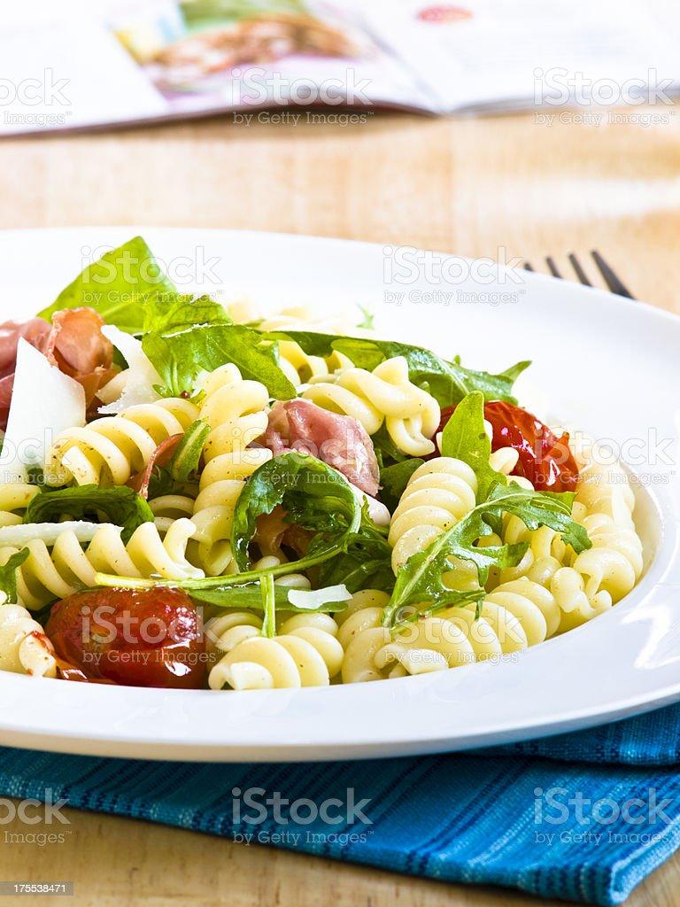 Rocket pasta salad stock photo