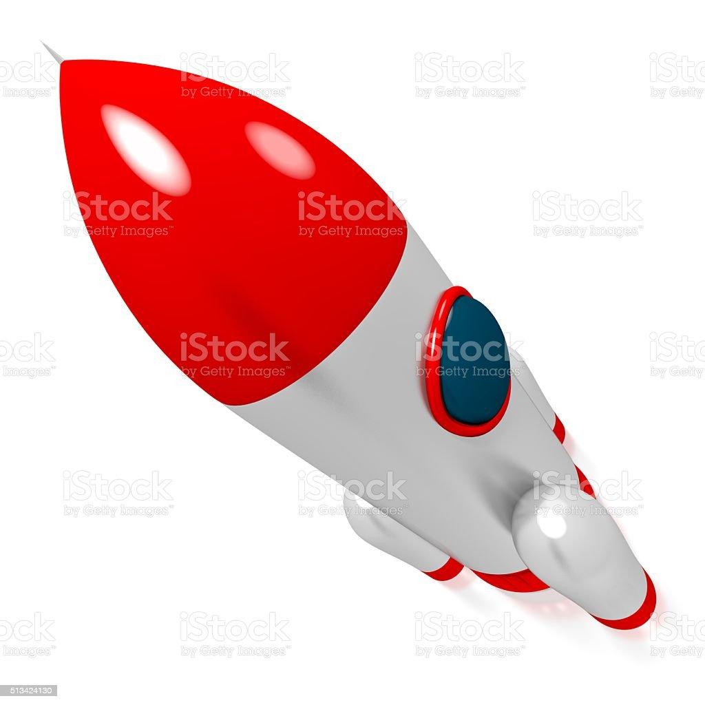 3D rocket stock photo