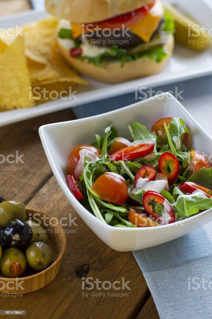 Rocket Salad and Olives royalty-free stock photo