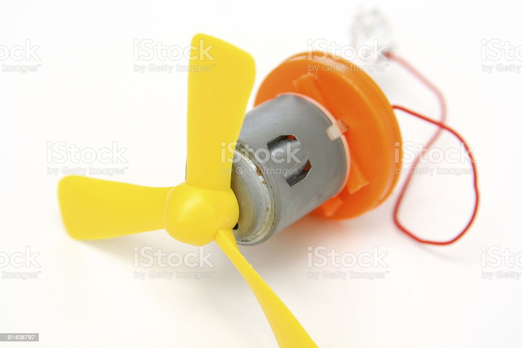 Rocket Science: Motor attached to Fan Blades With Wire stock photo