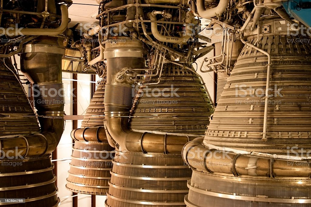 Rocket thrusters exhaust on the end of a space ship stock photo