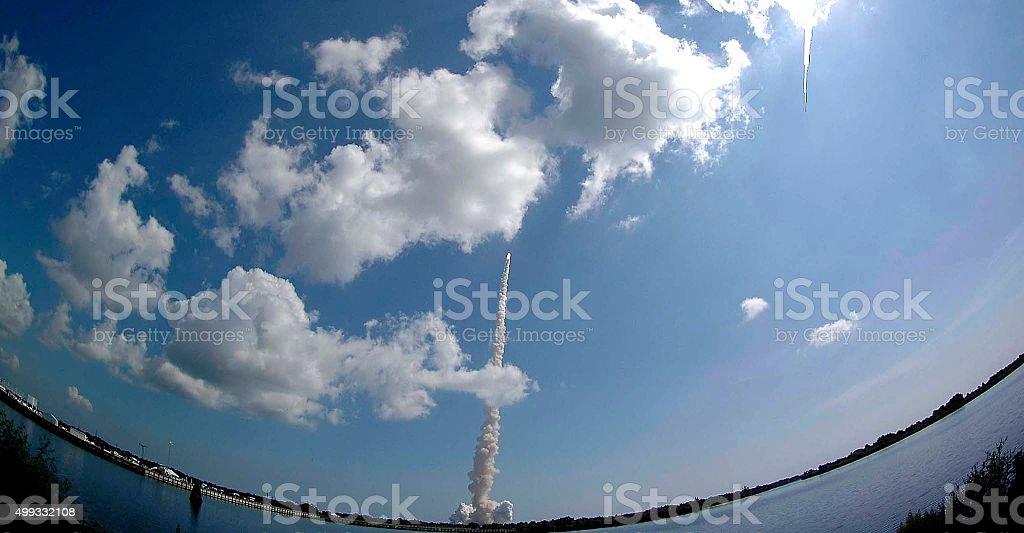rocket to send a weather satellite stock photo