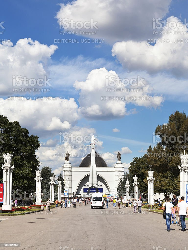 rocket Vostok and space pavilion in Moscow stock photo