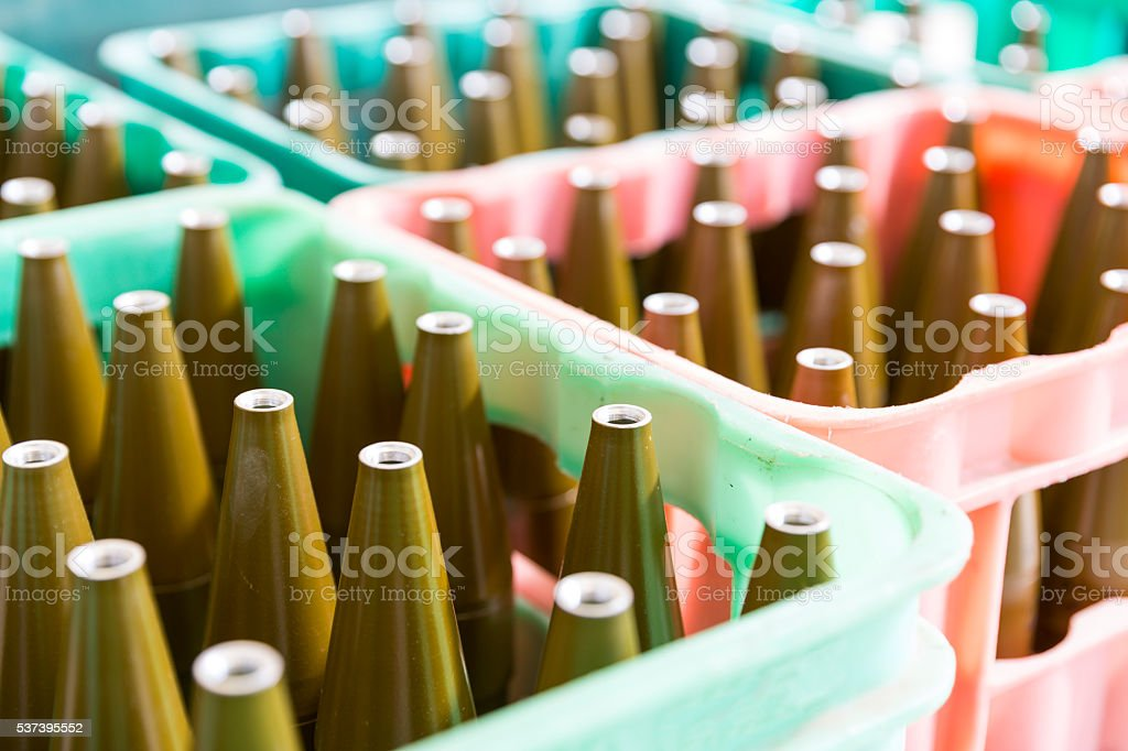 Rocket-propelled grenades RPG explosives in boxes stock photo