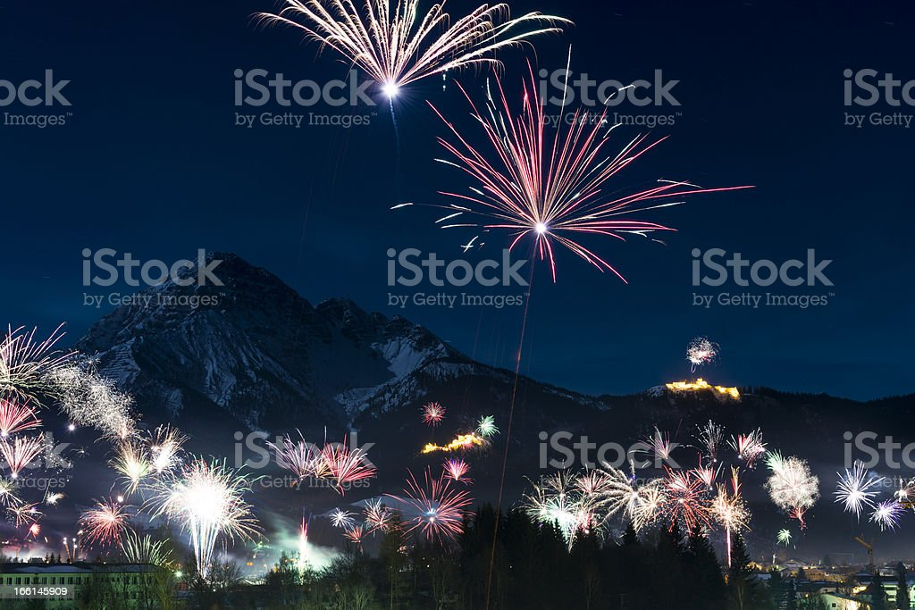rockets firework at new years day royalty-free stock photo