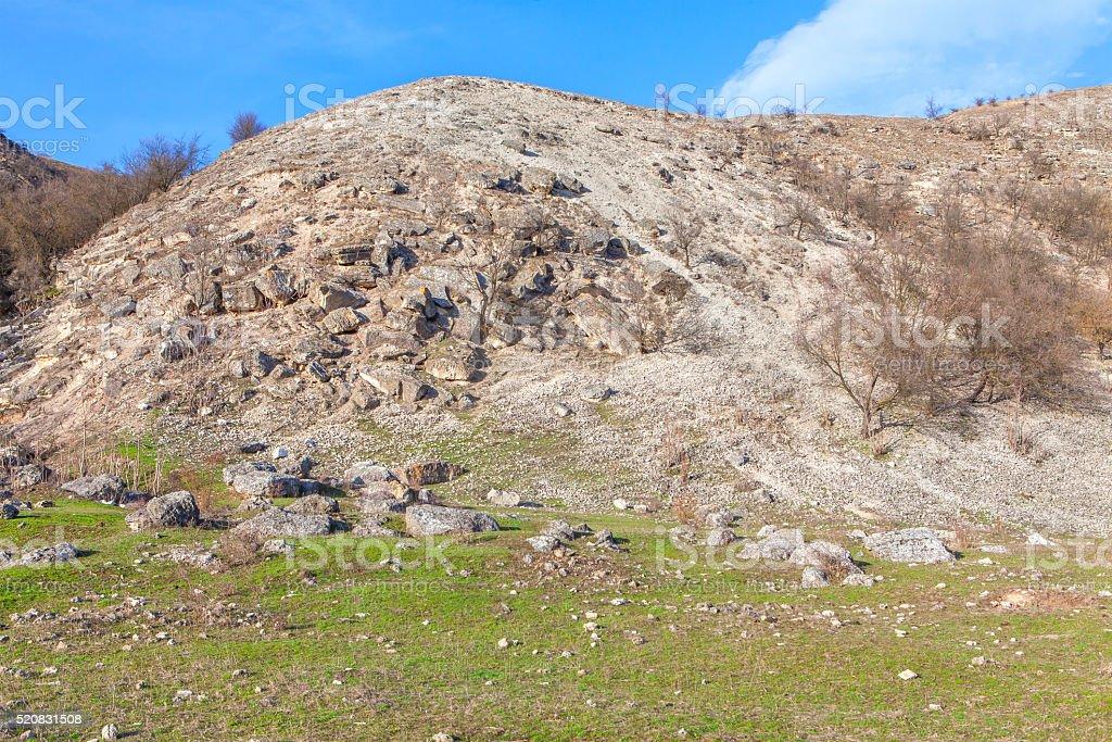 rockfall on the hill stock photo