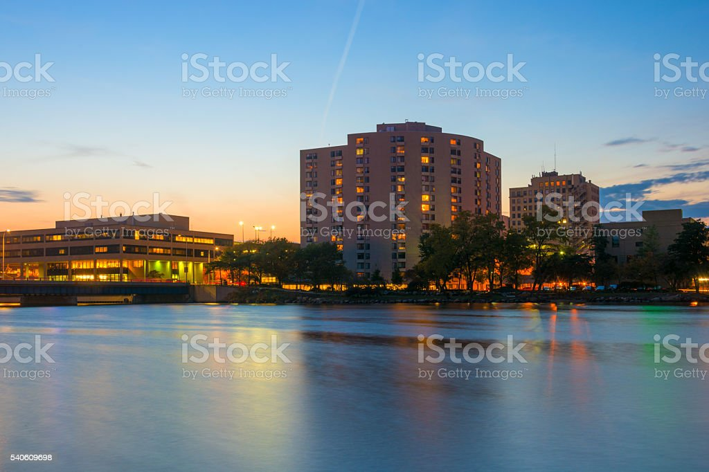 Rockford, IL skyline and Rock River at Dusk stock photo