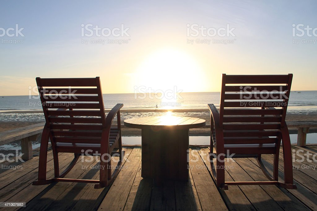 Rocking Chair at the terrace, Sunrise royalty-free stock photo
