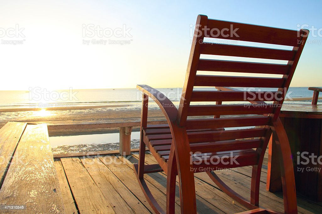 Rocking Chair at the terrace, Sunrise stock photo