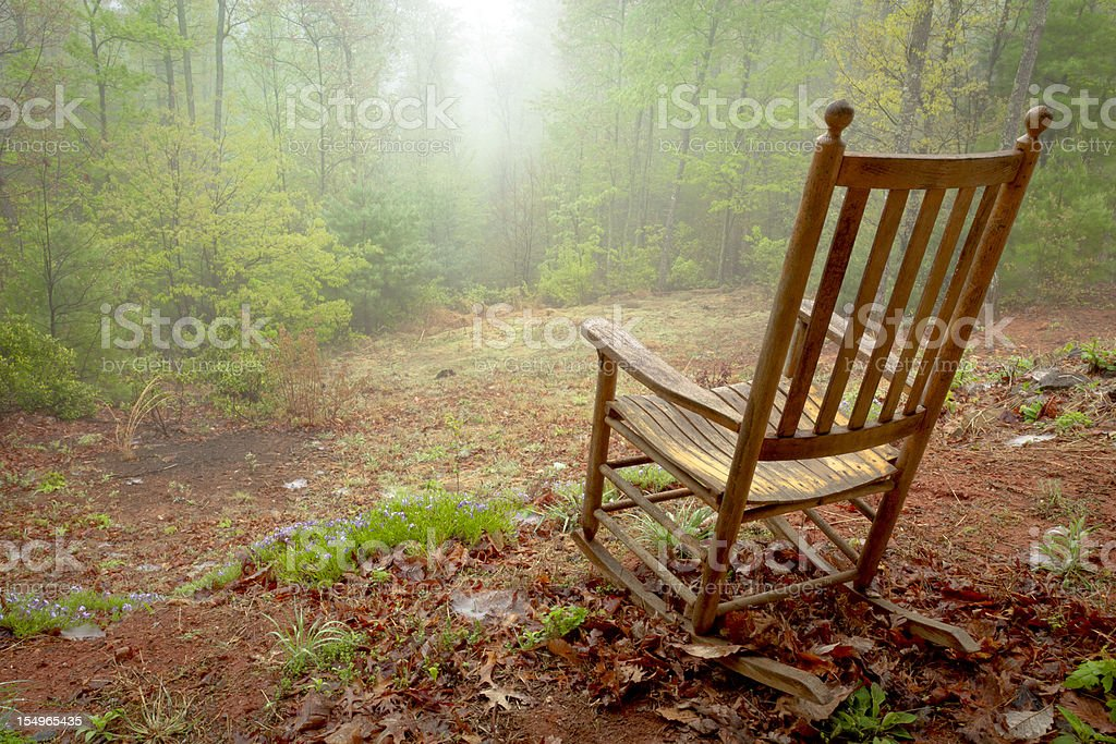 Rocking Chair on Foggy Hill royalty-free stock photo
