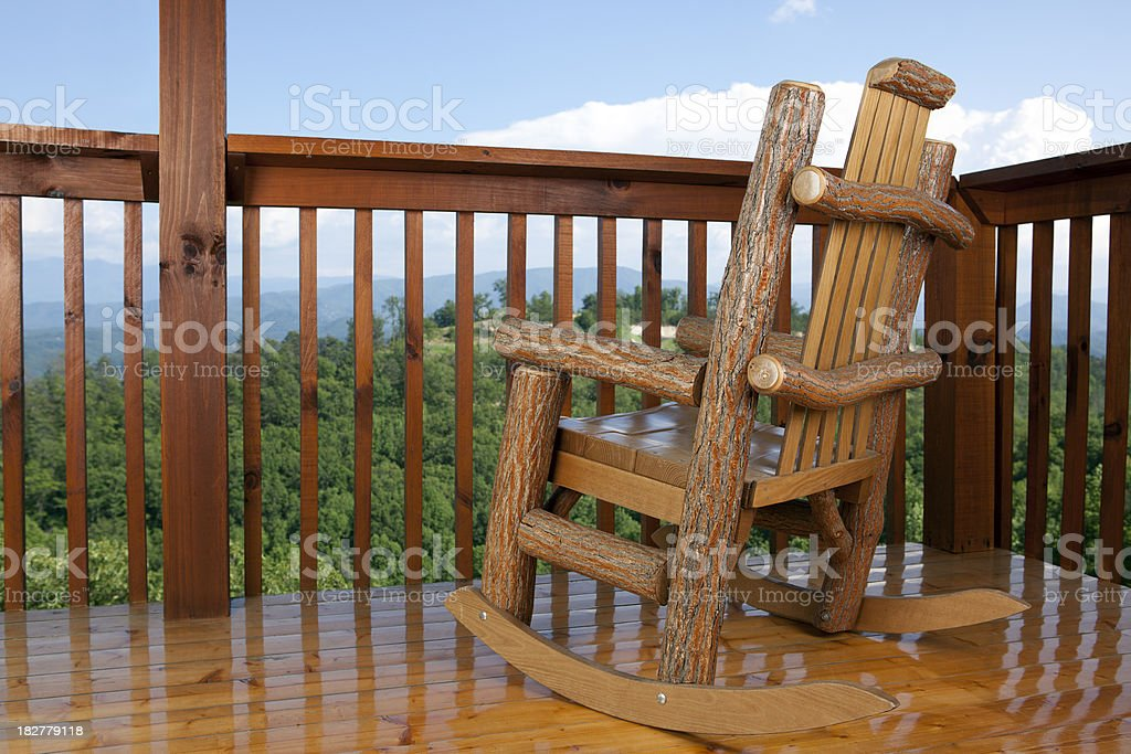 Rocking Chair with a Treetop View royalty-free stock photo