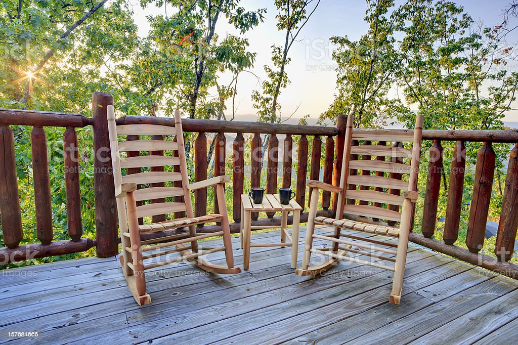 Rocking chairs and a coffee break royalty-free stock photo
