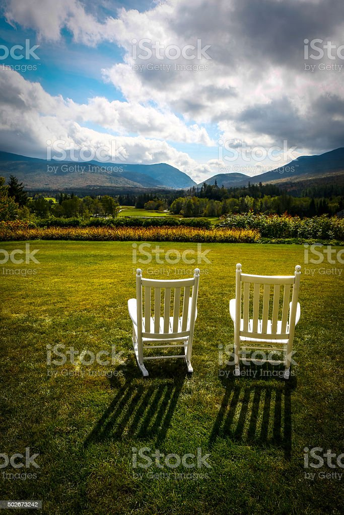 Rocking chairs at the White Mountains stock photo