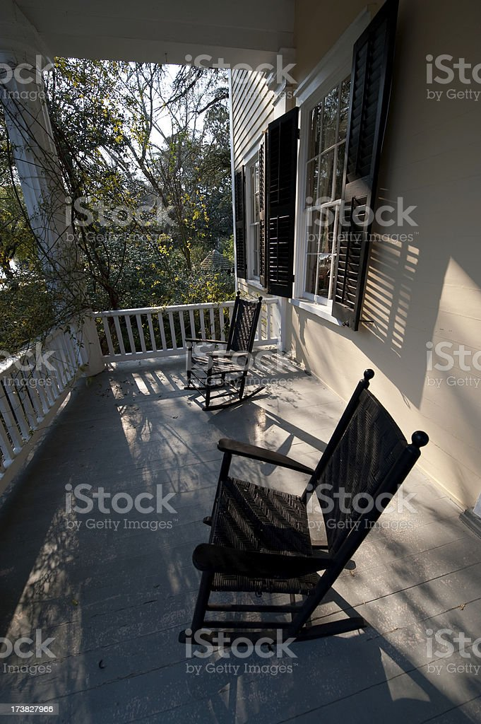 Rocking Chairs on Porch royalty-free stock photo