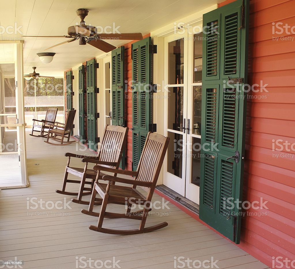 rocking chairs stock photo