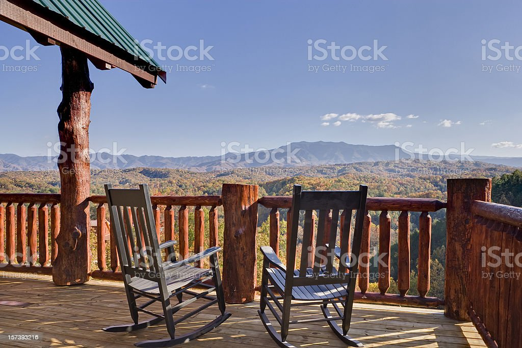Rocking Chairs with a View stock photo