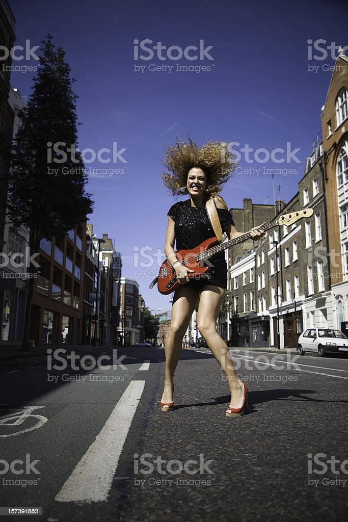 Rocking girl stock photo