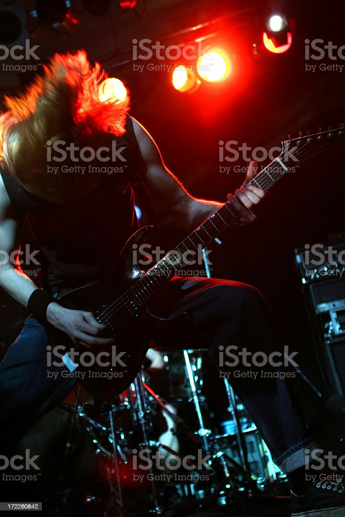 Rocking guitarist stock photo