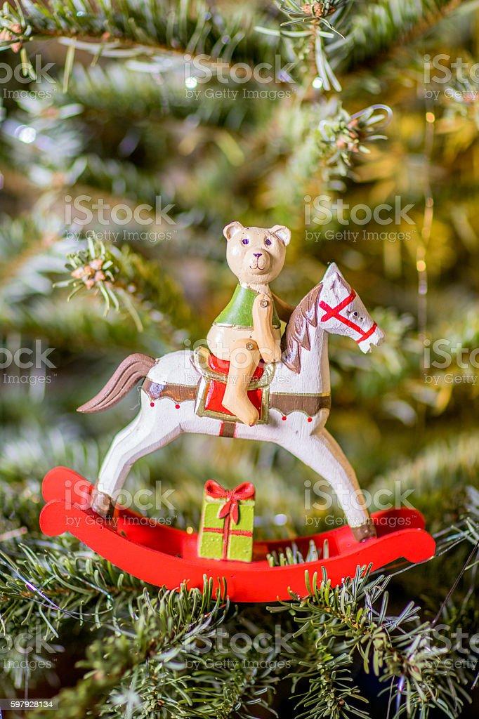Rocking Horse on Christmas Tree stock photo