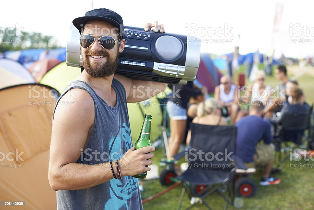 Rocking out with my boombox stock photo