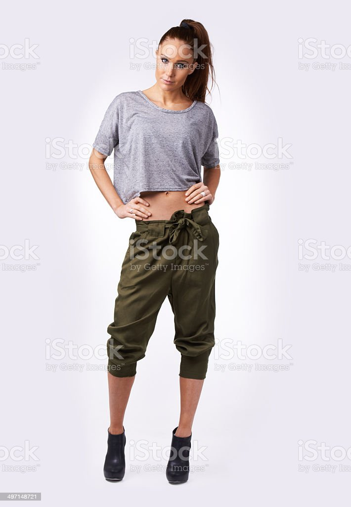 Rocking the 80's outfit! stock photo