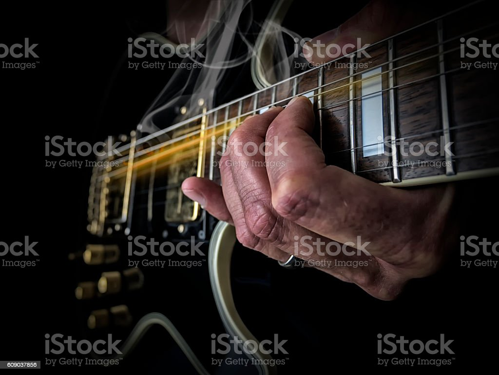 Rocking the Guitar stock photo