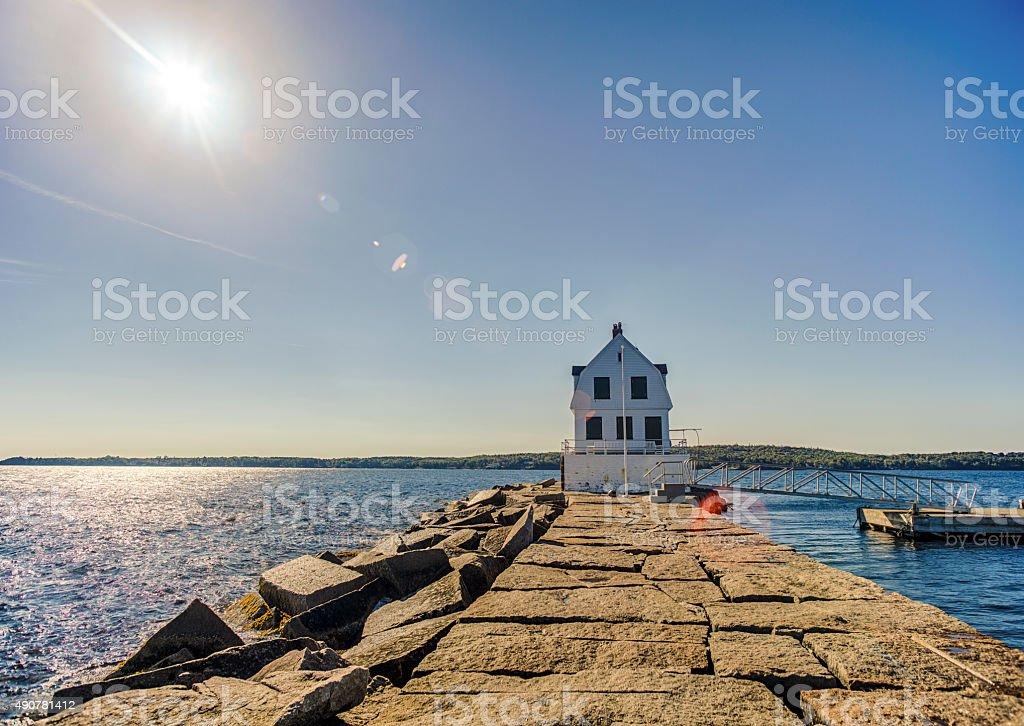 Rockland Harbor Breakwater Light In Maine stock photo