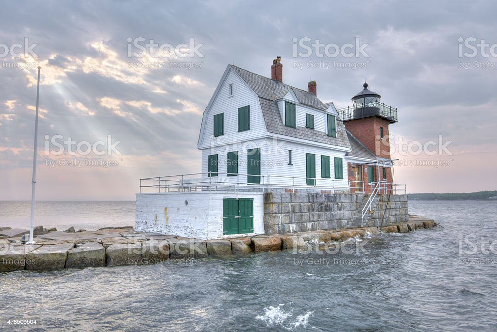 Rockland Harbor Breakwater Lighthouse stock photo