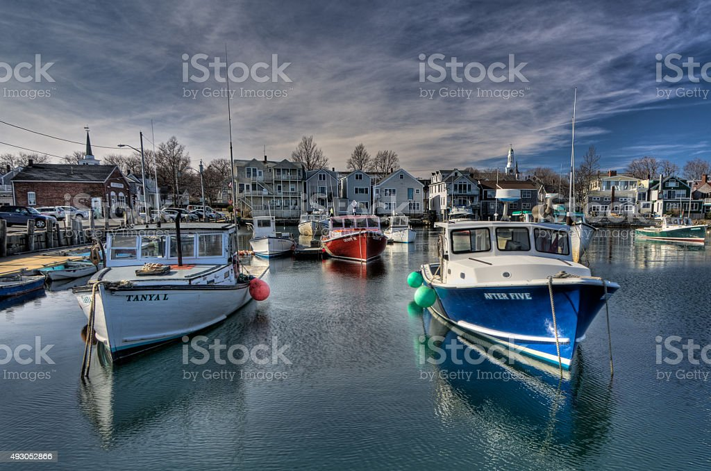 Rockport Fishing Boats Under a Winter Sky stock photo
