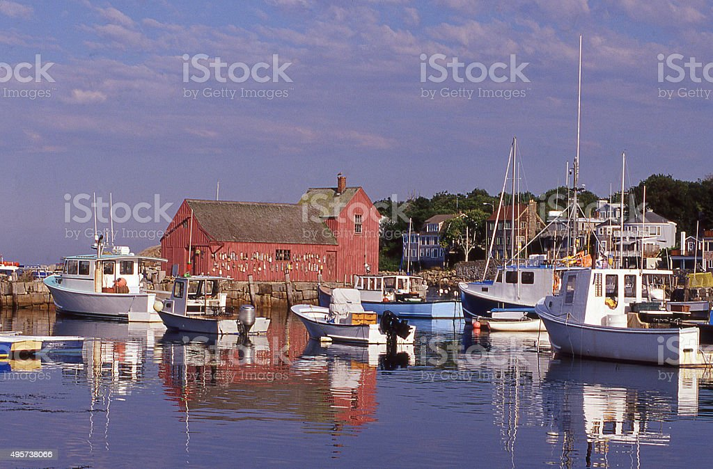 Rockport harbor Massachusetts in early morning and fishing boats stock photo