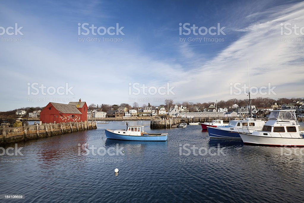 Rockport harbor stock photo